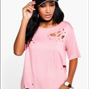 Boohoo distressed T shirt in Pink
